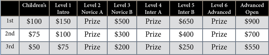 Working Equitation Cash Prizes